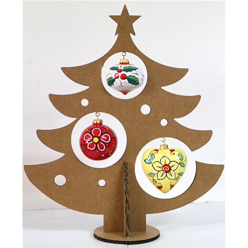 Albero Di Cartone Con 3 Palle Di Natale Faetani Arte